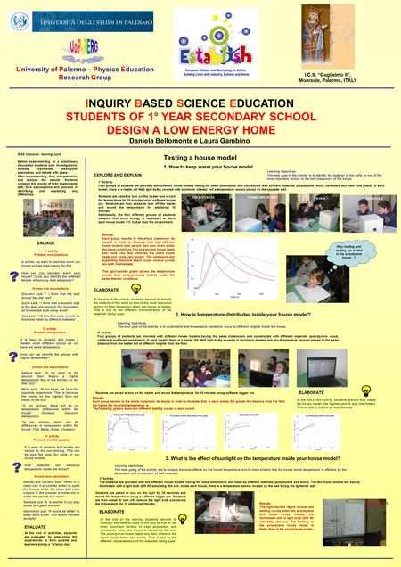 INQUIRY BASED SCIENCE EDUCATION STUDENTS OF 1° YEAR SECONDARY SCHOOL DESIGN A LOW ENERGY HOME Daniela Bellomonte e Laura Gambino University of Palermo.