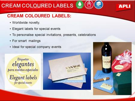 CREAM COLOURED LABELS: Worldwide novelty. Elegant labels for special events To personalise special invitations, presents, celebrations For smart mailings.
