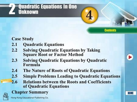 Quadratic Equations In One Unknown