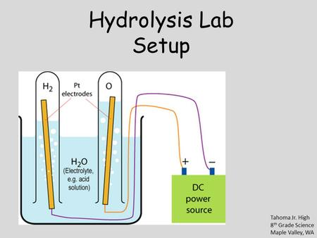 Hydrolysis Lab Setup Tahoma Jr. High 8 th Grade Science Maple Valley, WA.