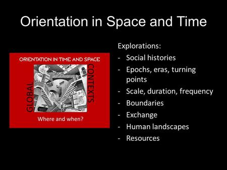 Orientation in Space and Time Explorations: -Social histories -Epochs, eras, turning points -Scale, duration, frequency -Boundaries -Exchange -Human landscapes.