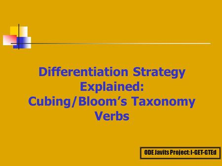 Differentiation Strategy Explained: Cubing/Bloom's Taxonomy Verbs