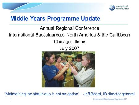 Middle Years Programme Update
