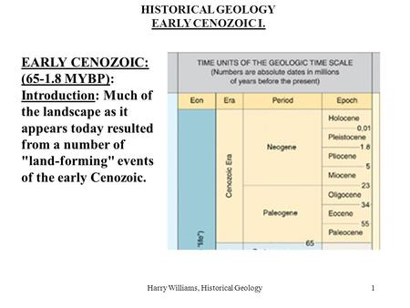 Harry Williams, Historical Geology1 HISTORICAL GEOLOGY EARLY CENOZOIC I. EARLY CENOZOIC: (65-1.8 MYBP): Introduction: Much of the landscape as it appears.