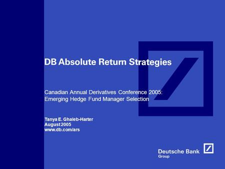 Canadian Annual Derivatives Conference 2005: