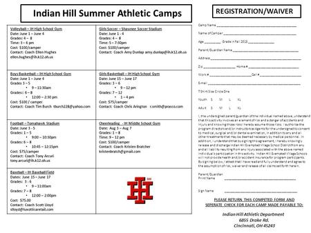 Indian Hill Summer Athletic Camps REGISTRATION/WAIVER Camp Name ______________________________________________ Name of Camper __________________________________________.
