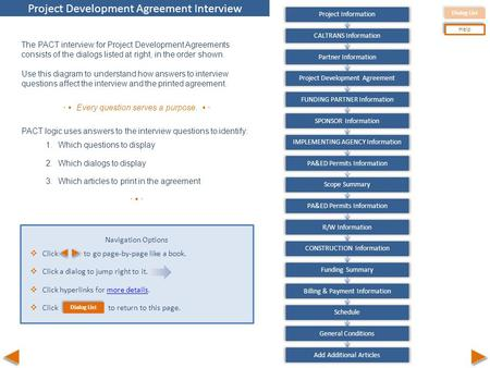 Dialog List Help Pa&Ed Information Caltrans Information Partner