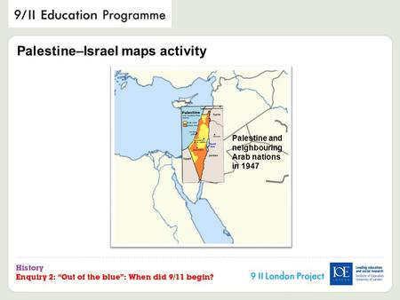 Palestine and neighbouring Arab nations in 1947 Palestine–Israel maps activity.