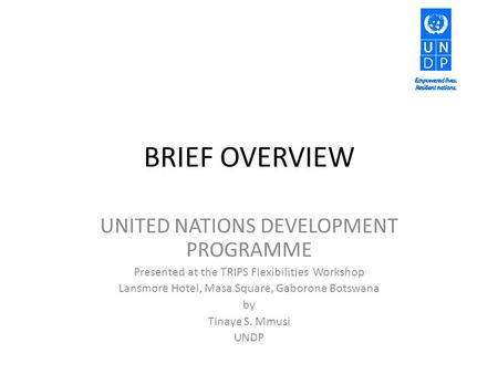 BRIEF OVERVIEW UNITED NATIONS DEVELOPMENT PROGRAMME Presented at the TRIPS Flexibilities Workshop Lansmore Hotel, Masa Square, Gaborone Botswana by Tinaye.