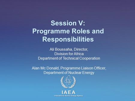 IAEA International Atomic Energy Agency Session V: Programme Roles and Responsibilities Ali Boussaha, Director, Division for Africa Department of Technical.