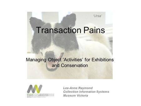 Transaction Pains Managing Object 'Activities' for Exhibitions and Conservation 'Ursa' Lee-Anne Raymond Collection Information Systems Museum Victoria.