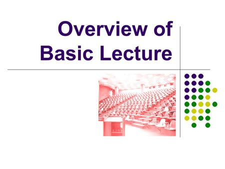 "Overview of Basic Lecture. Lecture is… ""…a process by which the notes of the professor become the notes of the student, without passing through the minds."