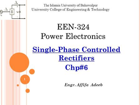 Single-Phase Controlled Rectifiers Chp#6