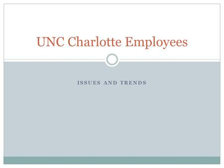 ISSUES AND TRENDS UNC Charlotte Employees. All UNC Charlotte Employees Employee DescriptionCount Permanent Status EPA Senior Administrators156 EPA Staff319.