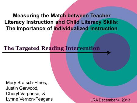 The Targeted Reading Intervention Measuring the Match between Teacher Literacy Instruction and Child Literacy Skills: The Importance of Individualized.