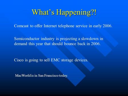 What's Happening?! Comcast to offer Internet telephone service in early 2006. Semiconductor industry is projecting a slowdown in demand this year that.