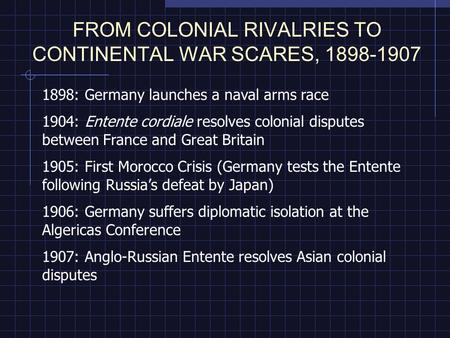 FROM COLONIAL RIVALRIES TO CONTINENTAL WAR SCARES, 1898-1907 1898: Germany launches a naval arms race 1904: Entente cordiale resolves colonial disputes.