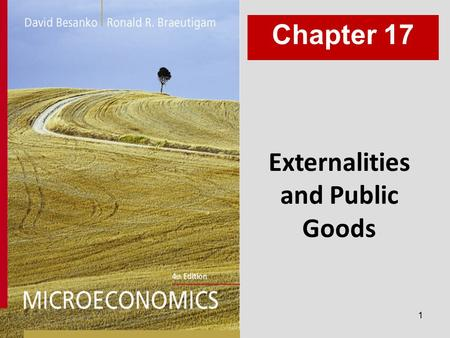 1 Externalities and Public Goods Chapter 17. 2 Chapter Seventeen Overview 1.Motivation 2.Inefficiency of Competition with Externalities 3.Allocation Property.