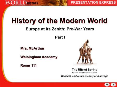 History of the Modern World Europe at its Zenith: Pre-War Years Part I Mrs. McArthur Walsingham Academy Room 111 Mrs. McArthur Walsingham Academy Room.