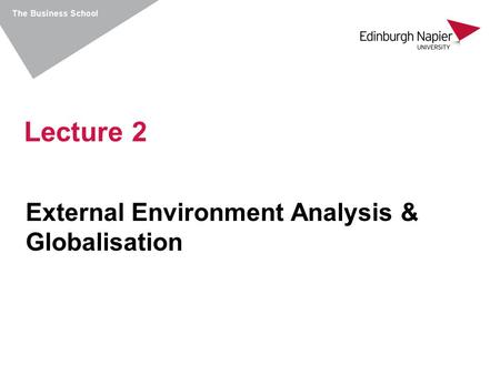 External Environment Analysis & Globalisation Lecture 2.