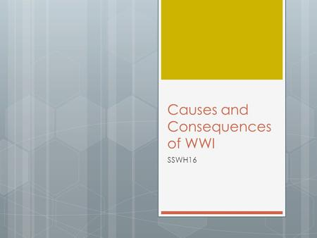 Causes and Consequences of WWI SSWH16. A. Identify the causes of the war; include Balkan nationalism, entangling alliances, and militarism  Remember.