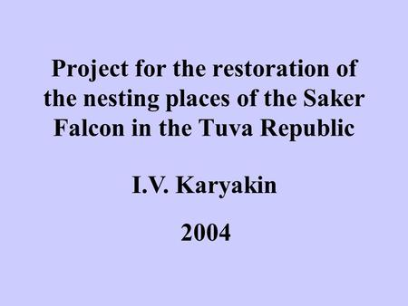 Project for the restoration of the nesting places of the Saker Falcon in the Tuva Republic I.V. Karyakin 2004.
