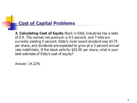 Cost of Capital Problems