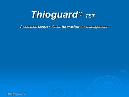 Thioguard ® TST A common sense solution for wastewater management October 28, 2005.