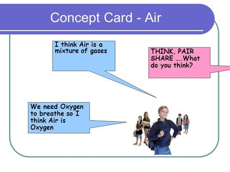 Concept Card - Air We need Oxygen to breathe so I think Air is Oxygen I think Air is a mixture of gases THINK, PAIR SHARE ….What do you think?