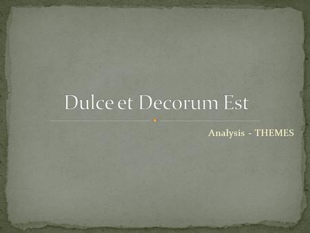 dulce et decorum est critical essay notes