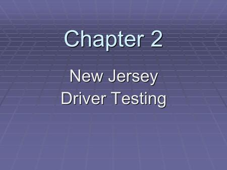 New Jersey Driver Testing