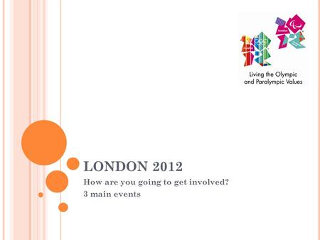LONDON 2012 How are you going to get involved? 3 main events.