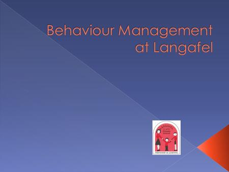 Background to behaviour  Systems in place at Langafel  Main parts of the policy explained.  What happens when an incident occurs with more than one.