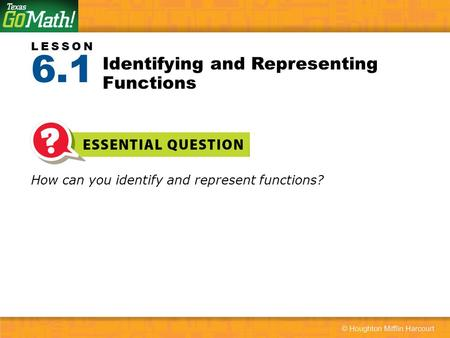 Identifying and Representing Functions