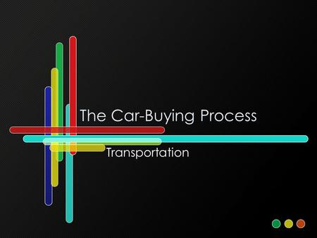 The Car-Buying Process Transportation. Should you buy a car?  Can you afford it? - Car payment should be no more than 20% of your take-home pay. But.