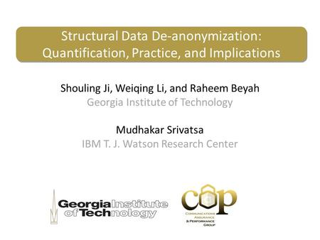 Structural Data De-anonymization: Quantification, Practice, and Implications Shouling Ji, Weiqing Li, and Raheem Beyah Georgia Institute of Technology.