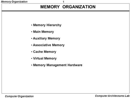 MEMORY ORGANIZATION Memory Hierarchy Main Memory Auxiliary Memory