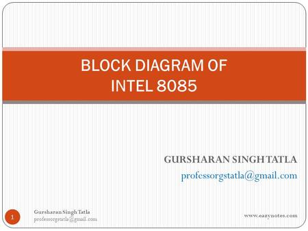 BLOCK DIAGRAM OF INTEL 8085 GURSHARAN SINGH TATLA 1 Gursharan Singh Tatla
