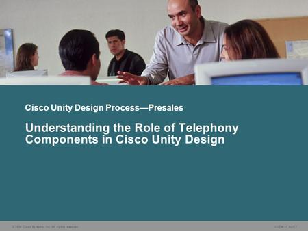 © 2006 Cisco Systems, Inc. All rights reserved. CUDN v1.1—1-1 Understanding the Role of Telephony Components in Cisco Unity Design Cisco Unity Design Process—Presales.