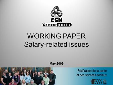 WORKING PAPER Salary-related issues May 2009. Working paper, Salary-related issues Introduction A strategy that measures up to our goals Do away with.