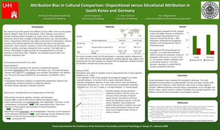Attribution Bias in Cultural Comparison: Dispositional versus Situational Attribution in South Korea and Germany Attribution Bias in Cultural Comparison:
