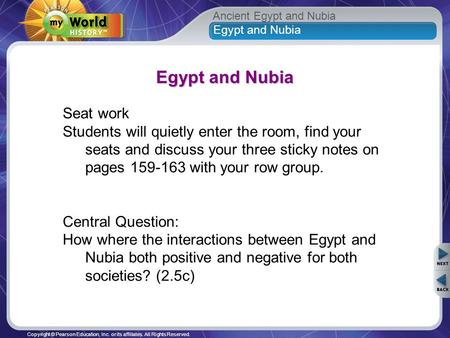Egypt and Nubia Seat work
