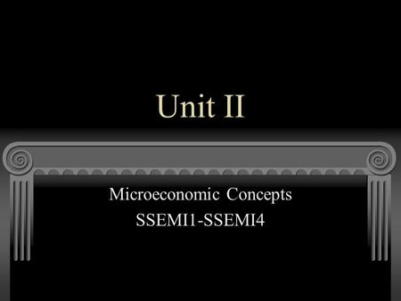 Unit II Microeconomic Concepts SSEMI1-SSEMI4. SSEMI1: Goods, Services, and Money The student will describe how households, businesses, and governments.