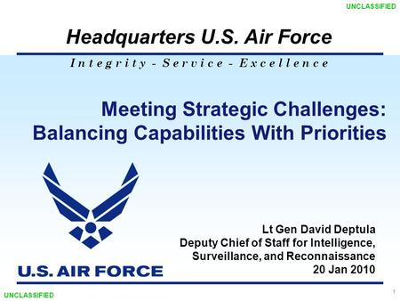 I n t e g r i t y - S e r v i c e - E x c e l l e n c e Headquarters U.S. Air Force 1 Meeting Strategic Challenges: Balancing Capabilities With Priorities.