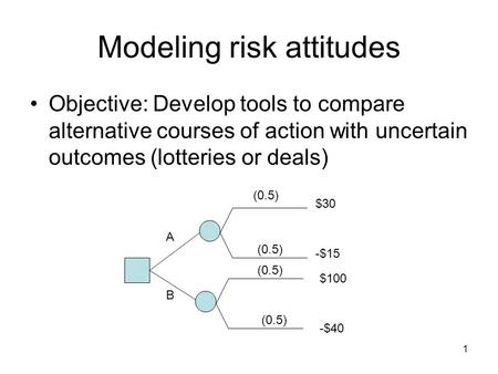 1 Modeling risk attitudes Objective: Develop tools to compare alternative courses of action with uncertain outcomes (lotteries or deals) A B $30 -$15 $100.