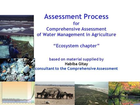 "Assessment Process for Comprehensive Assessment of Water Management in Agriculture ""Ecosystem chapter"" based on material supplied by Habiba Gitay consultant."