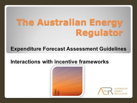 The Australian Energy Regulator Expenditure Forecast Assessment Guidelines Interactions with incentive frameworks.
