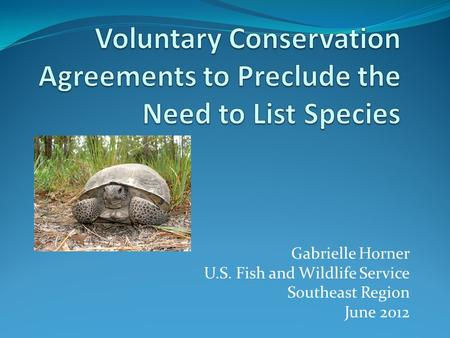 Gabrielle Horner U.S. Fish and Wildlife Service Southeast Region June 2012.