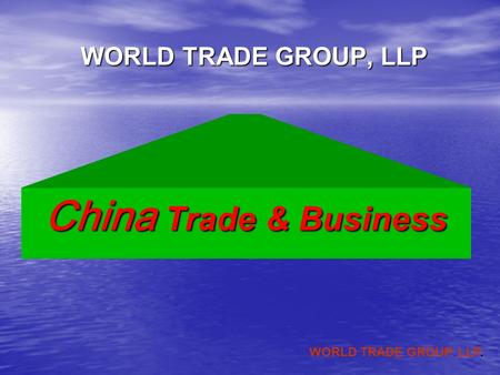 WORLD TRADE GROUP. LLP. WORLD TRADE GROUP, LLP China Trade & Business.