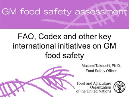 FAO, Codex and other key international initiatives on GM food safety Masami Takeuchi, Ph.D. Food Safety Officer.